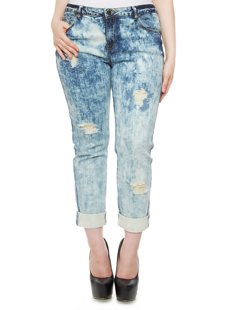 Rainbow Shops Plus Size Tint Wash Distressed Jeans $27.99