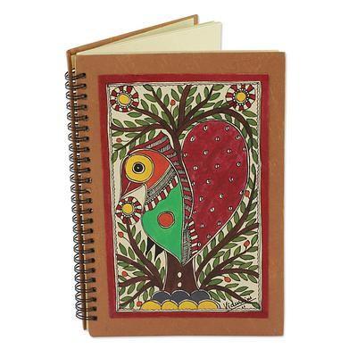 Handmade Madhubani Painting Journal - Bihar Lovebird | NOVICA