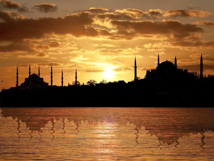 The stunning view with both Hagia Sophia and Blue Mosque.