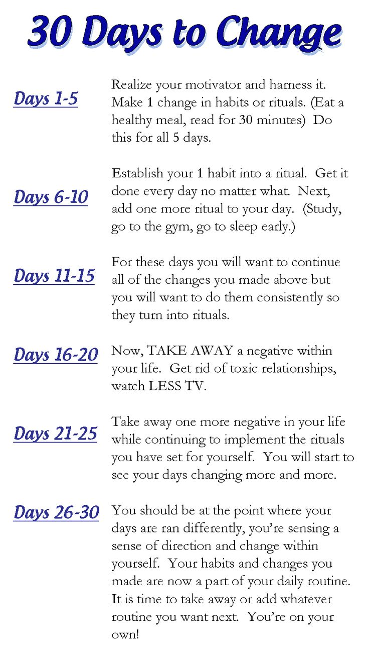 How to turn your life around in 30 days.