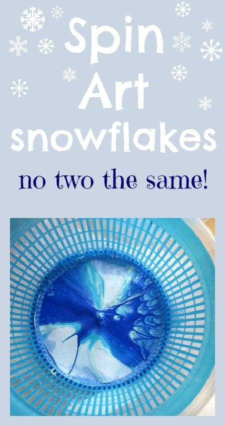Spin art snowflakes - really fun to make and just what we need to replace the Christmas decorations!