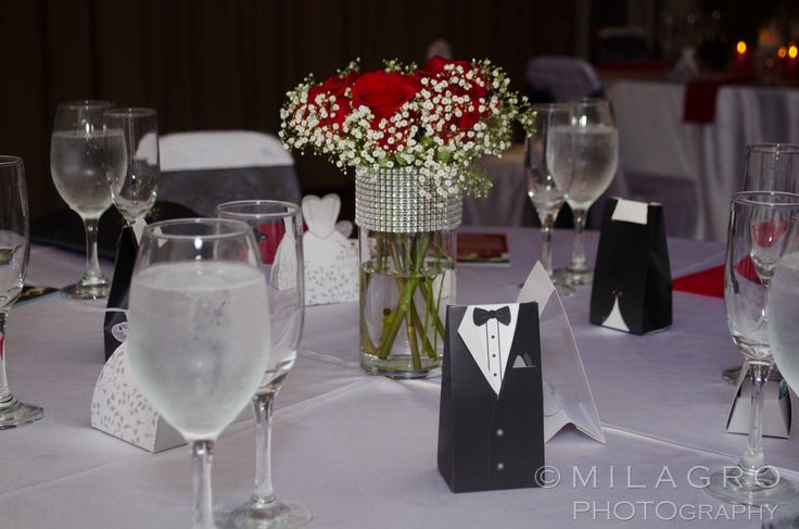 Table Setting For Engagement Party. We Used The Colors Red, Black, White And