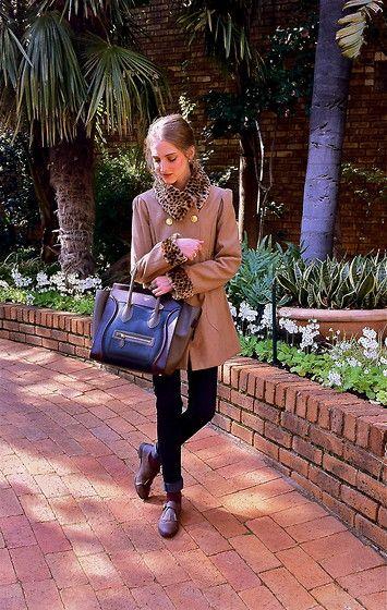 Winter, fall, leopard print, camel coat, coat, brogues, oxfords ...