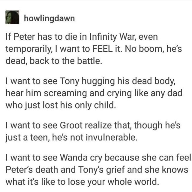 Part 1 of 3 >> GUYS NO. We finally got a Spider Man I love and adore with all  my heart, one Tony loves and cares for with all of his! We CAN'T let him die!