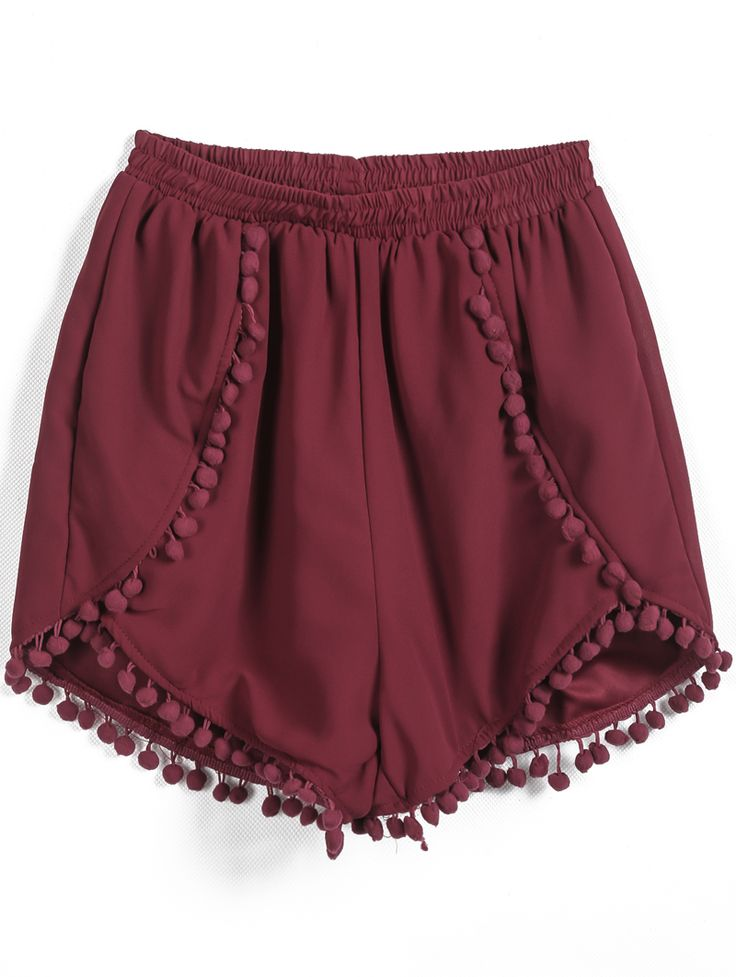 Red Elastic Waist Twisted Ball Embellished Shorts - Sheinside.com These are perfect for Bama game days!