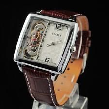 Casual Fashion Mens Women's Leather Band Analog Mechanical Wrist Watch Watches