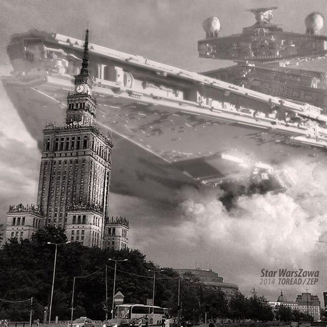 http://gadzetomania.pl/56710,star-warszawa-imponujace-polaczenie-gwiezdnych-wojen-z-polskimi-realiami