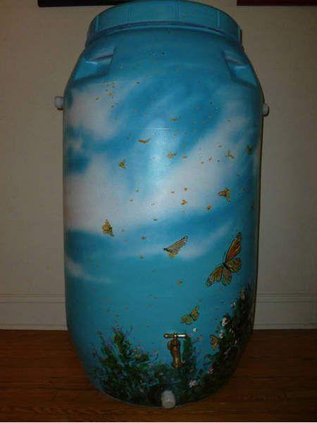 Painted rain barrel - butterflies in the sky