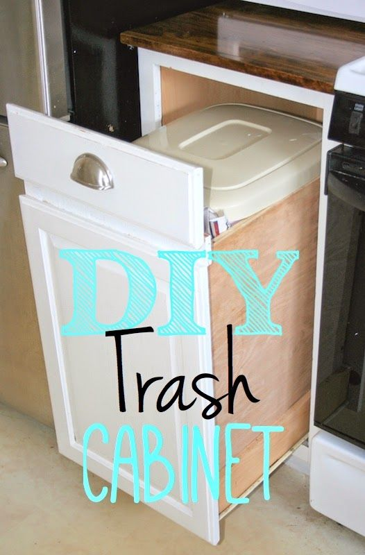 Pin for later!  Build a pull out trash cabinet for free!  All your hardware is already there!