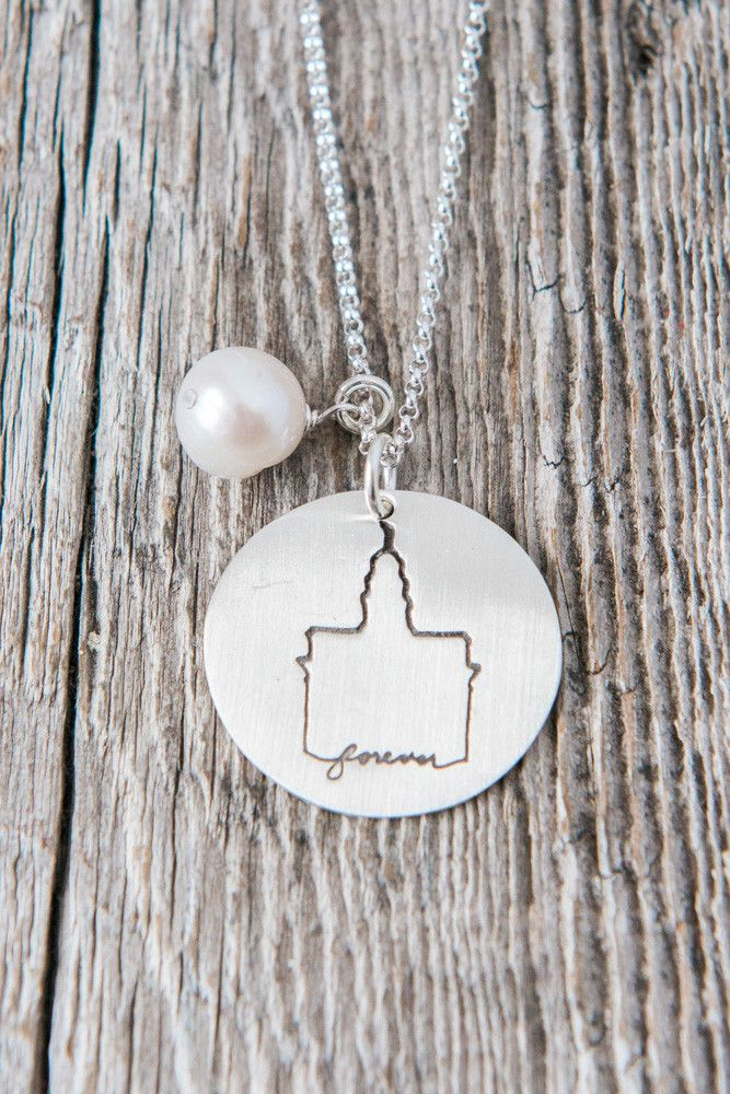 Nauvoo Illinois Temple This silhouette LDS Temple Necklace can be personalized around the perimeter with a last name or wedding date. This necklace is a perfect bridal gift or wedding day present! Han