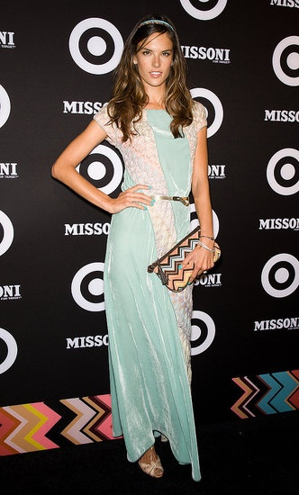 Ok, this is pathetic, but I'm delighted to finally learn the name of the Victoria's Secret model that is like THE main face of their catalogs.  Alessandra Ambrosio.  Nice dress, too. :)  (Missoni for Target launch party September 8 2011)