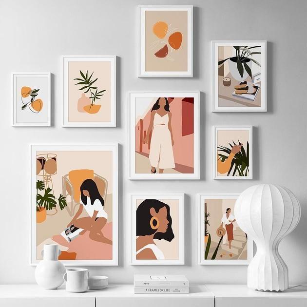 Mid Century Modern Graphic Wall Art Print House Of Andaloo Graphic Wall Art Wall Art Decor Prints Abstract Canvas Art