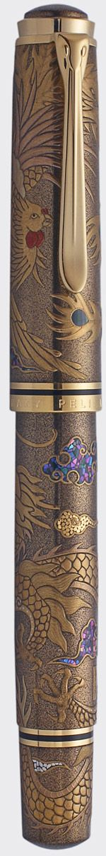 Pelikan Maki-e sterling silver fountain pen 18k Gold nib