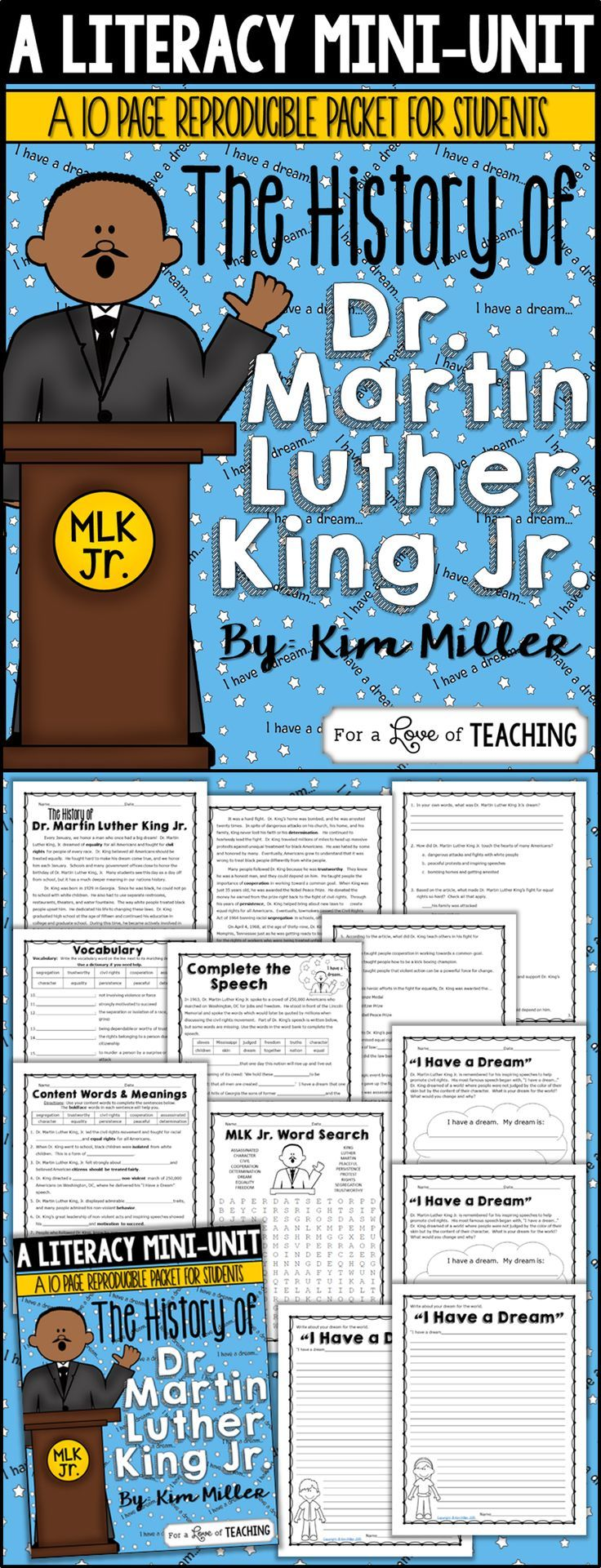 The History of Dr. Martin Luther King Jr. Mini Literacy Unit for Upper Grades