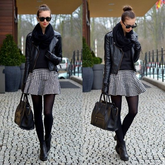 Sheinside Fu Leather Jacket, Choies Houndstooth Skirt