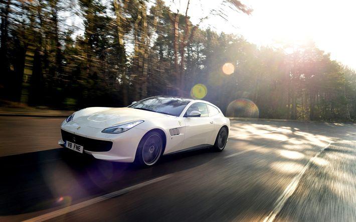 Download wallpapers Ferrari GTC4Lusso T, 2018 cars, supercars, road, Ferrari