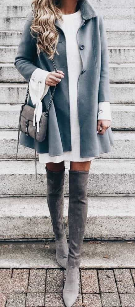 ⭐️ Bella Montreal ⭐️ Insta: bella.montreal || Pinterest & WeHeartIt: bella4549 || Pretty winter fashion, dusty blue coat, grey high boots, cute purse, style, modern, classy