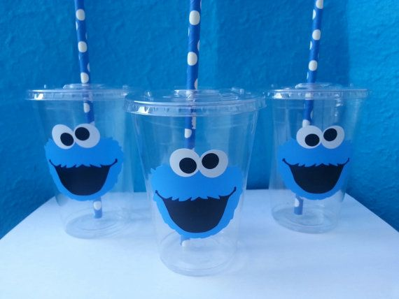 12 Cookie Monster Party Cups, Cookie Monster Birthday Party, Sesame Street, Lids and Straws Included on Etsy, $16.50