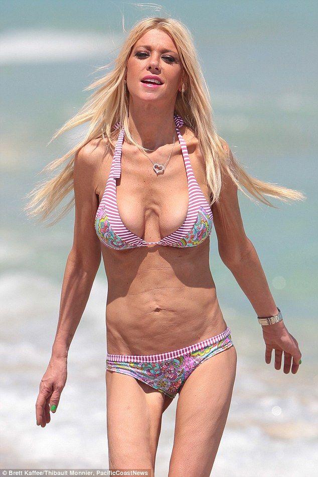 Too thin?Tara Reid looked worryingly slender as she posed in a bikini on the beach on Fri...