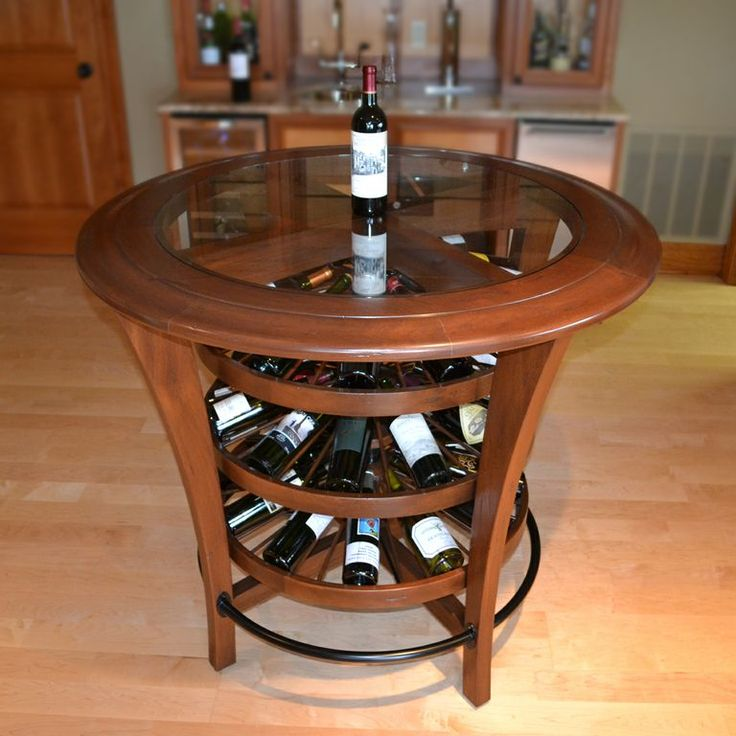 Bistro Bar Table Wine Rack features three rotating levels
