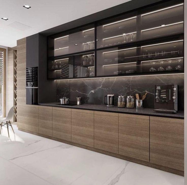 Küche Holz und Marmor mit