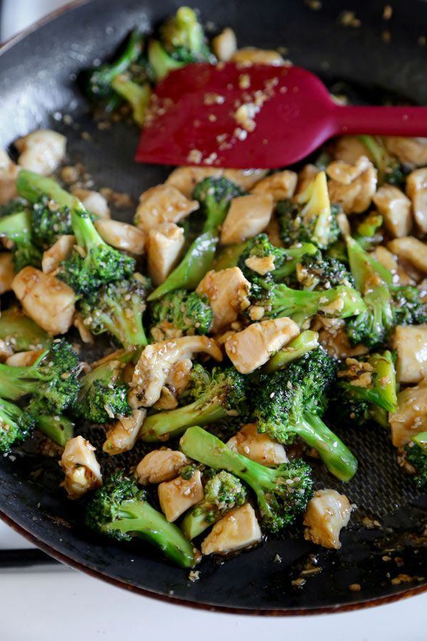 Easy chicken broccoli stir fry cooked with garlic, ginger, soy and ...