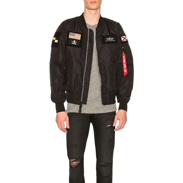 ALPHA INDUSTRIES L 2B Flex Bomber ($150) ❤ liked on Polyvore featuring men's fashion, men's clothing, men's outerwear, men's jackets, coats & jackets, mens patch jacket, mens zipper jacket, men's embroidered bomber jacket, mens embroidered jacket and mens reversible jacket