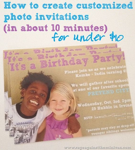 how to create simple photo invitations or cards for under ten bucks
