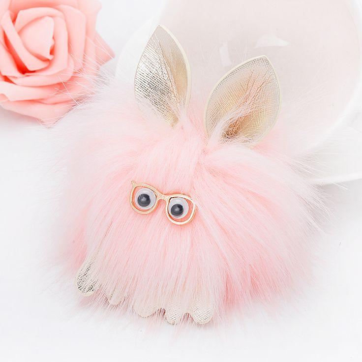 Yaratıcı giyen gözlük canavar kürk ponpon bunny anahtarlık anahtarlık kız kolye süsler Takı Kadın Aksesuarları ec(China (Mainland))