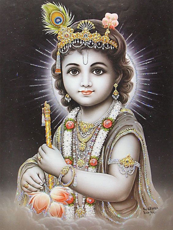 Young Krishna - ( Poster with Glitter ) (Reprint on Paper - Unframed))