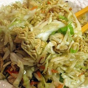 Ichiban Cabbage Salad Use this dressing recipe instead: 1/2 cups vegetable oil 6 Tablespoons rice vinegar 1 teaspoon salt 4 Tablespoons sugar 1 Tablespoon soy sauce Seasoning packet from noodles