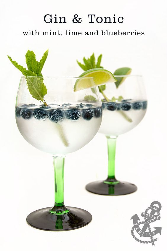 Gin & Tonic with Mint, Lime and Blueberries