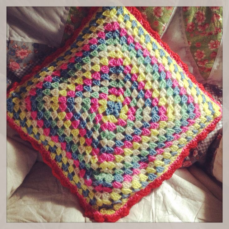 ...and the back of my finished Cath Kidston cushion #crochet #cathkidston
