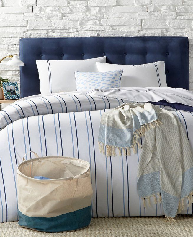 Blandford Navy Reversible Striped Cotton 9 Piece Comforter Bed In A Bag Mattress Furniture Bedding Sets Luxury Bedding Sets