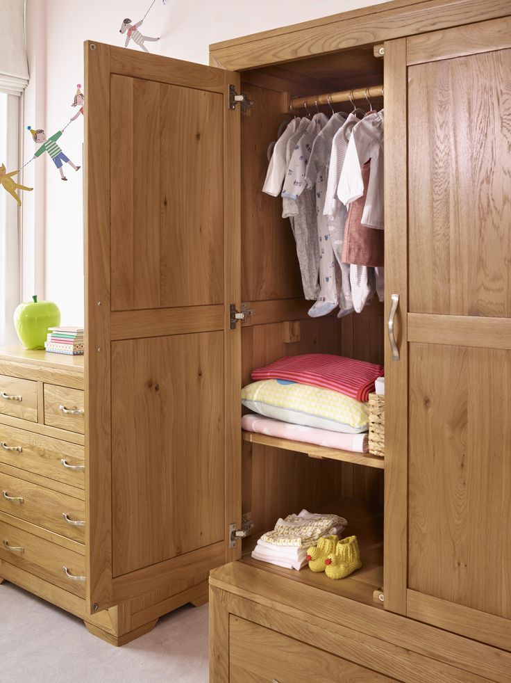 As with all the furniture in the Oak Furniture Land nursery ranges, the Bevel nursery solid oak wardrobe has been thoughtfully designed for your child's safety as well as to be long-lasting.  For the nursery and early childhood stages, safety is built in with soft-close drawers and doors, and the special finish of the solid oak conforms to UK standards for child safety.