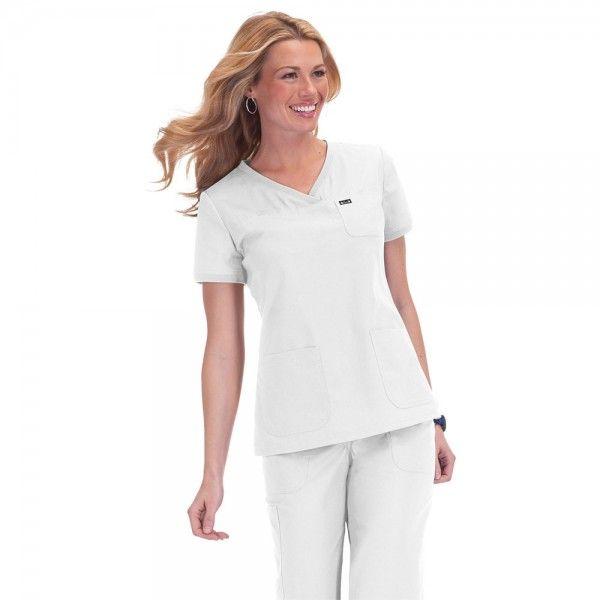 Koi Nicole Top in White. The Koi Nicole Top is an easy to wear, neat style, super comfy top with soft rib-trim detail on the neckline and sleeves. £24.99  #medicalscrubs #nursescrubs #dentistscrubs #nurses #dentists #whitescrubs #nurseuniform