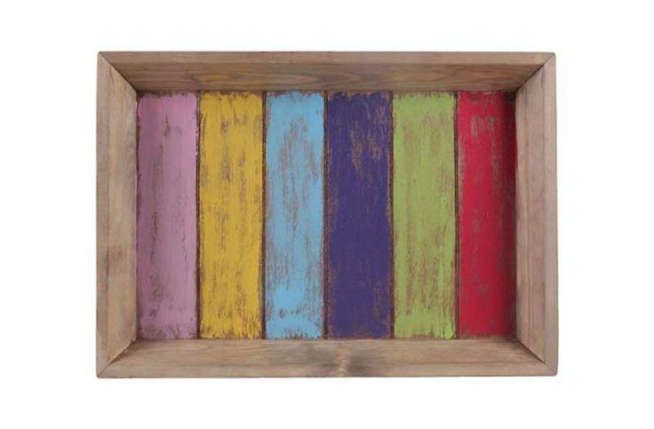 Het dienblad heeft een vrolijke frisse zomerse uitstraling. Het dienblad is uitstekend te combineren met andere sfeer artikelen zoals kaarsen, kandelaars, bloemen, vazen of andere decoratie artikelen.  De trendy dienbladen uit de Joy serie zijn afgewerkt met sprekende, felle kleuren als blauw, groen, geel, roze en paars.