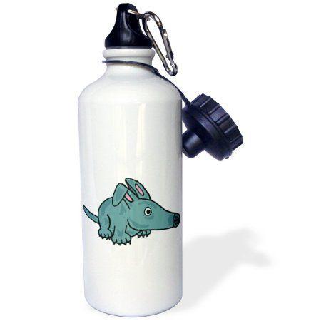 3dRose Funny Cute Blue Aardvark Cartoon , Sports Water Bottle, 21oz, White