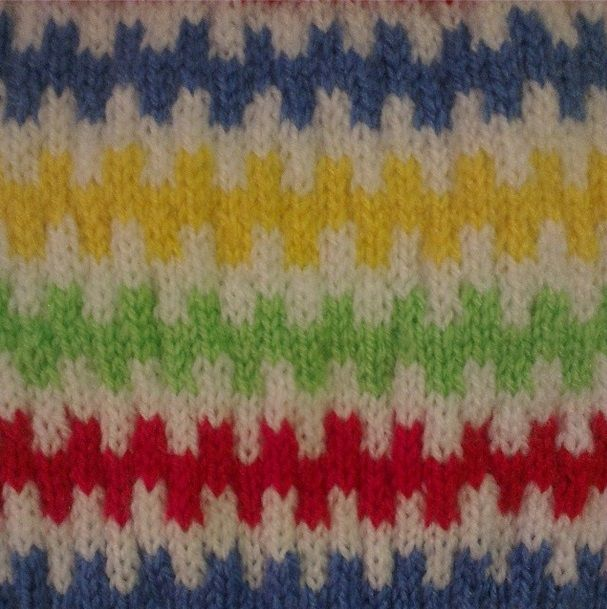 Rainbow pattern detail, knitted with double knit.
