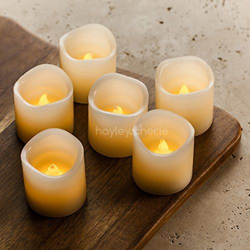 """Real Wax Flameless Candles with Timer (Set of 6) - Ivory LED Candles with Flickering Amber Yellow Flame - Battery Operated Candles - Unscented - 2"""" x 2"""" ~ $14"""