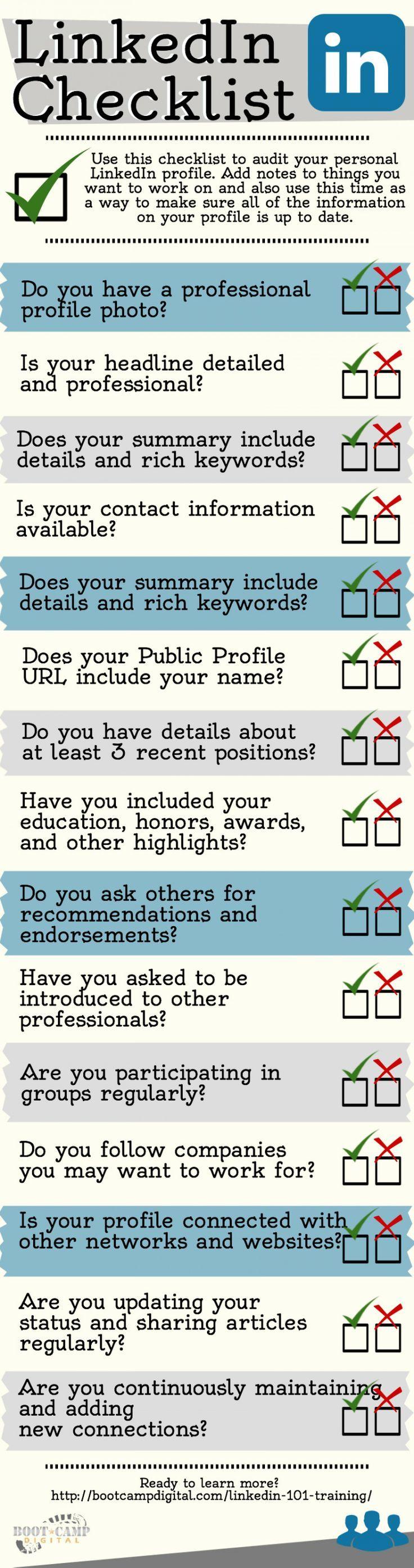 #LinkedIn Checklist [Infographic] - How to Create a Strong LinkedIn Profile #socialmedia #marketing