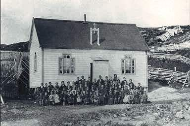 A one room schoolhouse in the village of Bacon Cove, Conception Bay, Newfoundland in 1948.