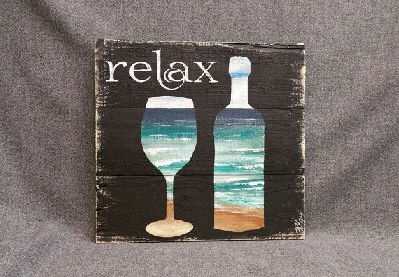 Beach Wine Bottle & Glass Pallet wall art decor, Relax, reclaimed wood, Distressed wine bottles, handmade, hand painted, gift  Original Acrylic painting on reclaimed pallet wood  DIMENSIONS are 17 in x 16 in. Give your summer decor a personal, shabby chic touch with this unique artwork! Great for your camping trailer too as a reminder to RELAX   **All of my creations are made of reclaimed boards. They are hand painted and are made after they are ordered. Although I try to duplicate original…