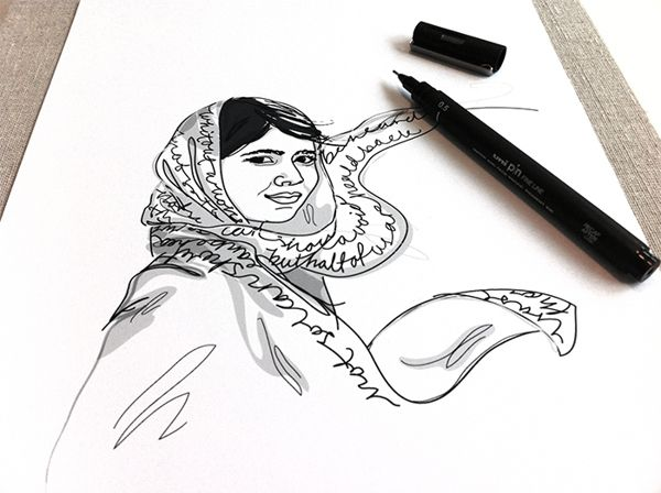 """Work in progress, Malala Yousafzai. -""""Wall of Femme"""" is a series of portraits of five strong and inspiring women by Illustrator Christina Heitmann. See more images and read the full stories behind each of these amazing women (Amelia Earhart, Malala Yousafzai, Simone de Beauvoir, Xinran Xue, Agnes Pareyio) on https://www.behance.net/gallery/Wall-of-Femme/15382065 #rolemodel #brave #women #illustration #illustrations #drawing"""