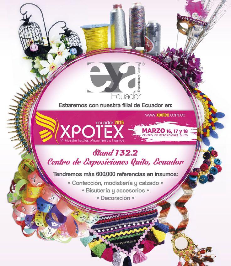 XPOTEX ECUADOR 2016 con los insumos Ensambles y Adornos, importadores mayoristas