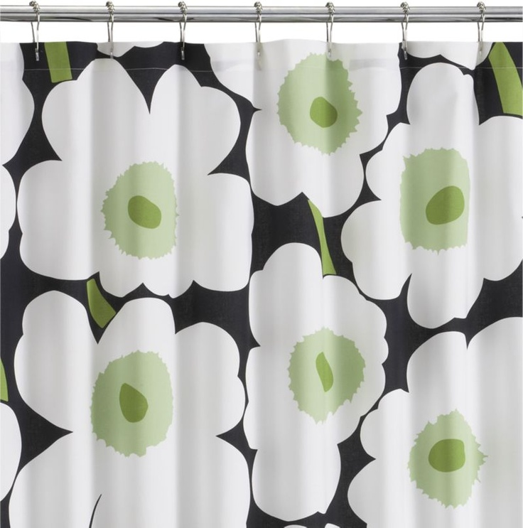 Marimekko Unikko Black Shower Curtain in Bed and Bath | Crate and Barrel