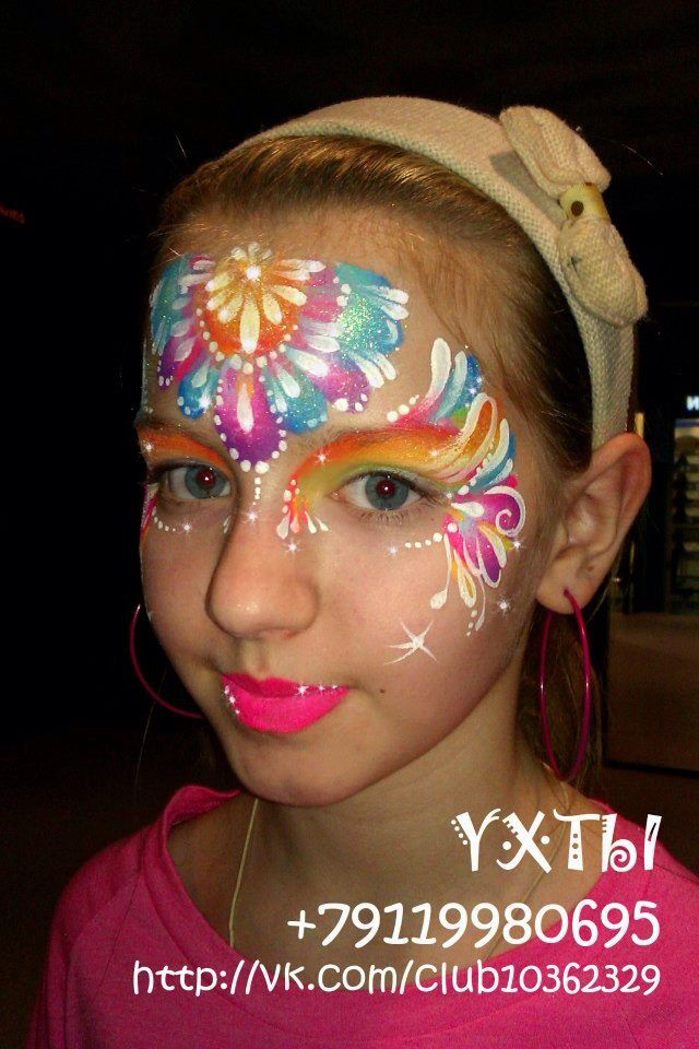 Tatyana Aguagrim || beautiful colorful one stroke design face painting ideas for kids