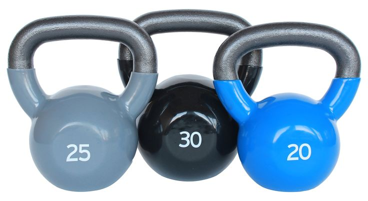 Premier Fitness XPRT FITNESS Vinyl Kettlebell Set. Quality vinyl coated outside for floor protection. Textured wide handle for easy grip. Great for various muscular strength building. Kettlebell set include 20lbs,25lbs and 30lbs.