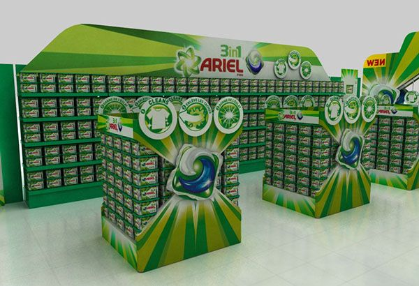 Supermarket promotional space for Ariel Power Pods. on Behance