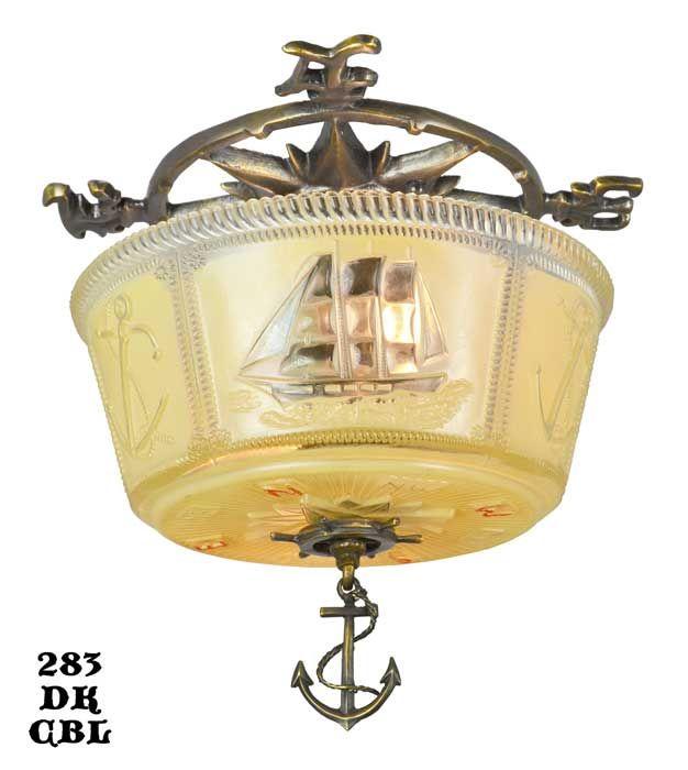Vintage Hardware Lighting Flush And Semi Ceiling Lights Nautical Marine Close Bowl Light Fixture 283 Dk